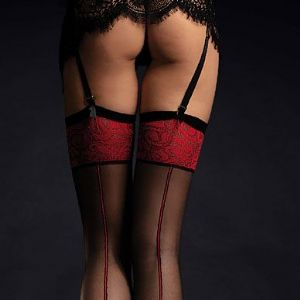 Black Stockings with Red Tops and Seams, Fiore Scarlett